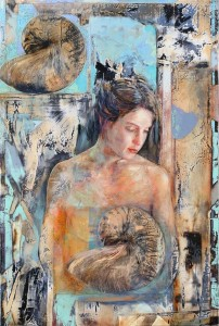 Memory & Origins. Oil and gold leaf on wood. 2005. 49 x 36 inches.