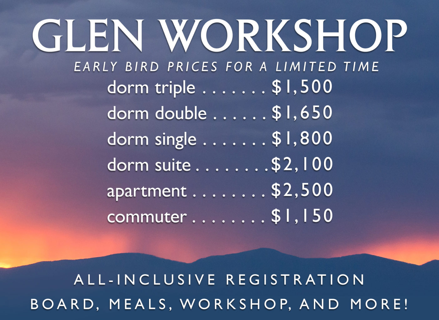 2018 Early Bird Prices