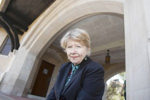 """Valerie Sayers author of """"The Powers"""" on the University of Notre Dame campus Monday, April. 22, 2013, in South Bend, IN..  Sayers is a English Professor and Department Chair at the University. (James C. Svehla/for the Chicago Tribune)   ...OUTSIDE TRIBUNE CO.- NO MAGS,  NO SALES, NO INTERNET, NO TV, CHICAGO OUT, NO DIGITAL MANIPULATION..."""