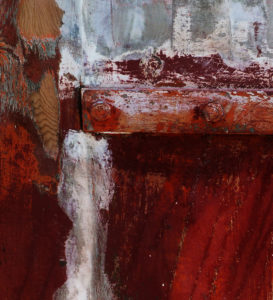 textured painting in dark red with a white gash down the center and a white paint slash at the top.