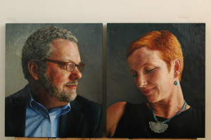 Catherine Prescott. Marriage Portrait: Gregory and Suzanne Wolfe, 2008. Oil on Wood Panels. 14 X 12 inches each. PrescottPaintings.com