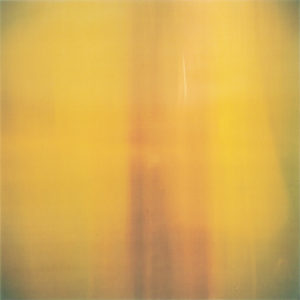 abstract and textured image or painting in dusty mustard with a streak of dark orange-red down the center. the corners are rimmed with a slight murky green.