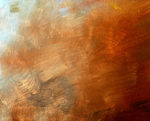 abstract red and orange painting, done in large and commanding brushstrokes