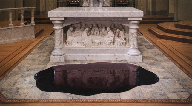 Plate 3. Jeffrey Mongrain. Blood Pool, 2006. Plexiglas. 47 x 88 x ¼ inches. Saint Peter's Church, Columbia, South Carolina.