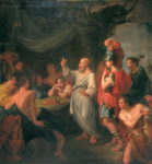 Painting of Socrates standing in the center of a nondescript area, with his arm raised. He is lecturing to a crowd of men who are gathered around him, some lounging, others standing, but all looking towards Socrates in the center of the circle. They are wearing togas.
