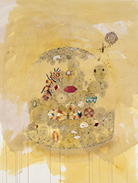 PLATE 11. Gala Bent. Flowering Fossil Bed, 2013. Gouache, ink, and graphite on paper. 48 x 36 inches.