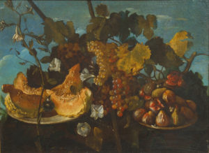 a still life painting with a blue background. on the top is leafy and flowery plants in a vase, bowls filled with fruit (figs and grapes and marrow bones). it is very opulent.