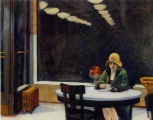 painting by edward hopper of a woman in a green coat with a large droopy yellow hat sitting alone at a table with a cup of coffee. behind her a large window is dark from the nighttime and reflects the row of lights from inside the cafe.