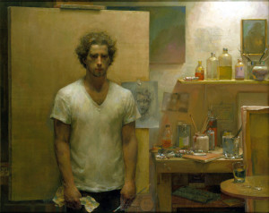Plate 22. Jacob Collins. Self-Portrait (In Studio), 1992-94. Oil on canvas. 50 x 62 inches.