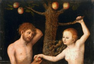 Adam and Eve in front of a tree, Eve is holding on to a branch and handing Adam an apple