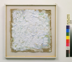 Plate 24. Robert Ryman. Untitled, 1961. Oil on unstretched linen. 10 ¾  x 10 ¼ inches. Mrs. Frank Y. Larkin and Mr. and Mrs. Gerrit Lansing Funds. Photo © Robert Ryman and the Museum of Modern Art, licensed by SCALA/Art Resource, courtesy of PaceWildenstein, New York.  Image licenced to Mary Kenagy IMAGE by Mary Kenagy Usage :  - 2000 X 2000 pixels  © Digital Image © The Museum of Modern Art/Licensed by SCALA / Art Resource