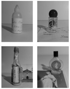 Michael Sitaras. Sacred Air, 2004–present. Clockwise from upper left: bottled air collected from Mount Athos, Greece; Assisi, Italy; Notre Dame du Liban, Harissa, Lebanon; the Protestant Church of Aruba, Oranjestad, Aruba. From an ongoing collection of over forty specimens.