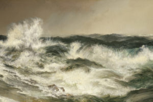 a painting of crashing waves against the shore with a yellow sky