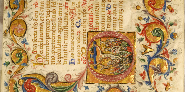 close up detail of an ornately painted page from The Book of Hours depicting the crucifixion, alongside texts, and a border of different colors in swirls, flowers, and greenery.