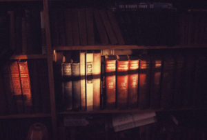 Row of books in a shelf with a slant of light across them.