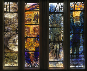 PLATES 12 to 14. Thomas Denny. Ivor Gurney Windows (easterly lights and two details), 2014. Gloucester Cathedral. Stained glass with medieval fragments (not shown). Eight lights of 52 x 8 inches.