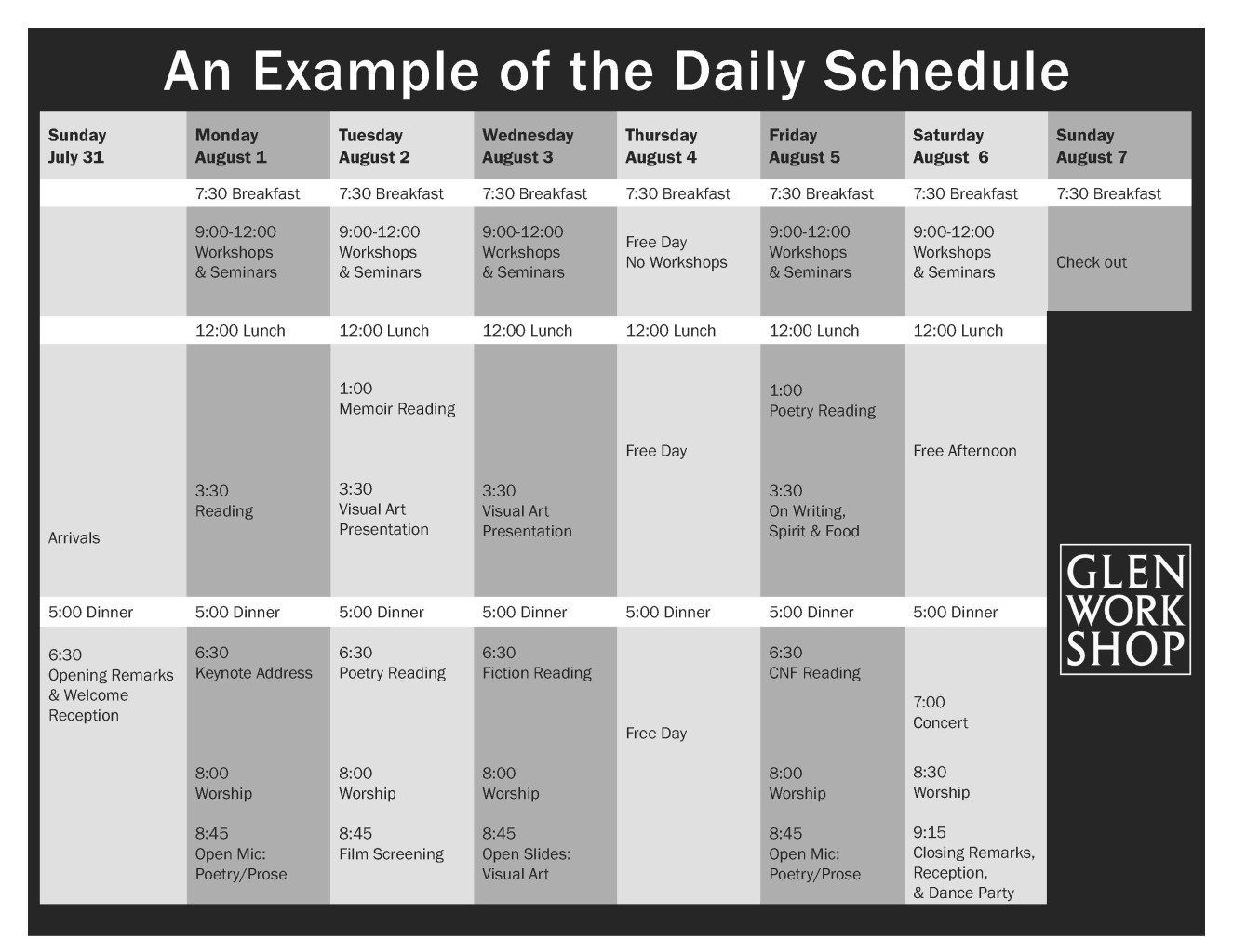 Example Schedule for Website 2