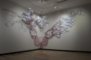PLATE 14. Linnéa Spransy. Chronos, 2014. Acrylic ink on frosted Mylar. Dimensions variable, approximately 9 1/2 x 30 feet.