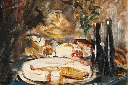Still life of a white cake on a blue tablecloth, messy painting, warm colors.