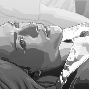 Still from film Tower. Image shows an animated image of a close up of a woman's face. She is crying and looking upwards, presumably lying on the ground.