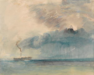painting in mostly light pink cream muted tones of a paddel0steamer in a storm on the water. the water is rimmed with blue paint, the clouds are bluish gray and purple.