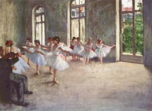 Impressionistic painting of an expansive room with vaulted windows that open to the green of the outside. In the room, various dancers gathered by a bar or in the center of the room, practicing pointing their toes and stretching out their legs. They are wearing loose white and pale lavender tutus and leotards. In the left hand corner, an instructor in black sits and observes.