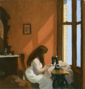 Painting of a Girl sitting in front of a sewing machine facing a window that lets in slats of light on the girl and the burnt orange walls.