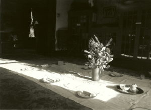 The Seder table set on a tablecloth on the floor, flowers in the center in a tall vase, and a stretch of sun across the middle of the table