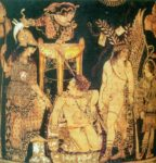 image of a theater scene painted by Python, Greek pottery