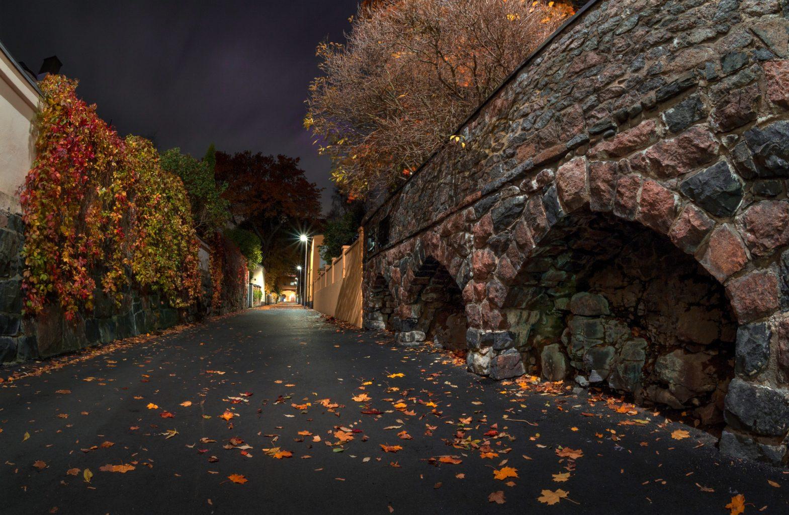 Fall Night Stone Wall Image Journal