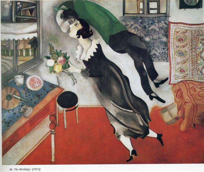 "Chagall's ""The Birthday"" shows two lovers floating in an apartment, kissing"