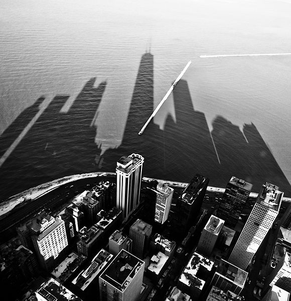 chicago skyline with shadows on lake michigan