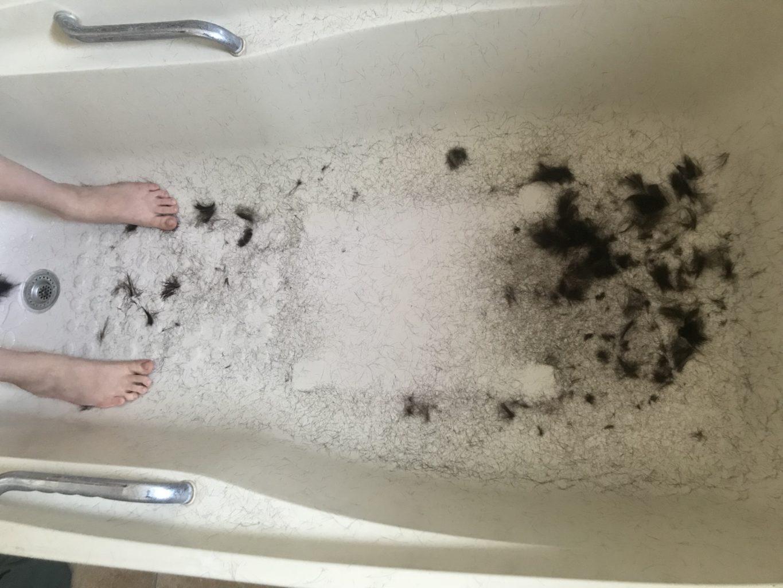"""Week 2: <em>Bathroom</em>, """"Haircut,"""" Leni Dothan, April 18, 2020"""