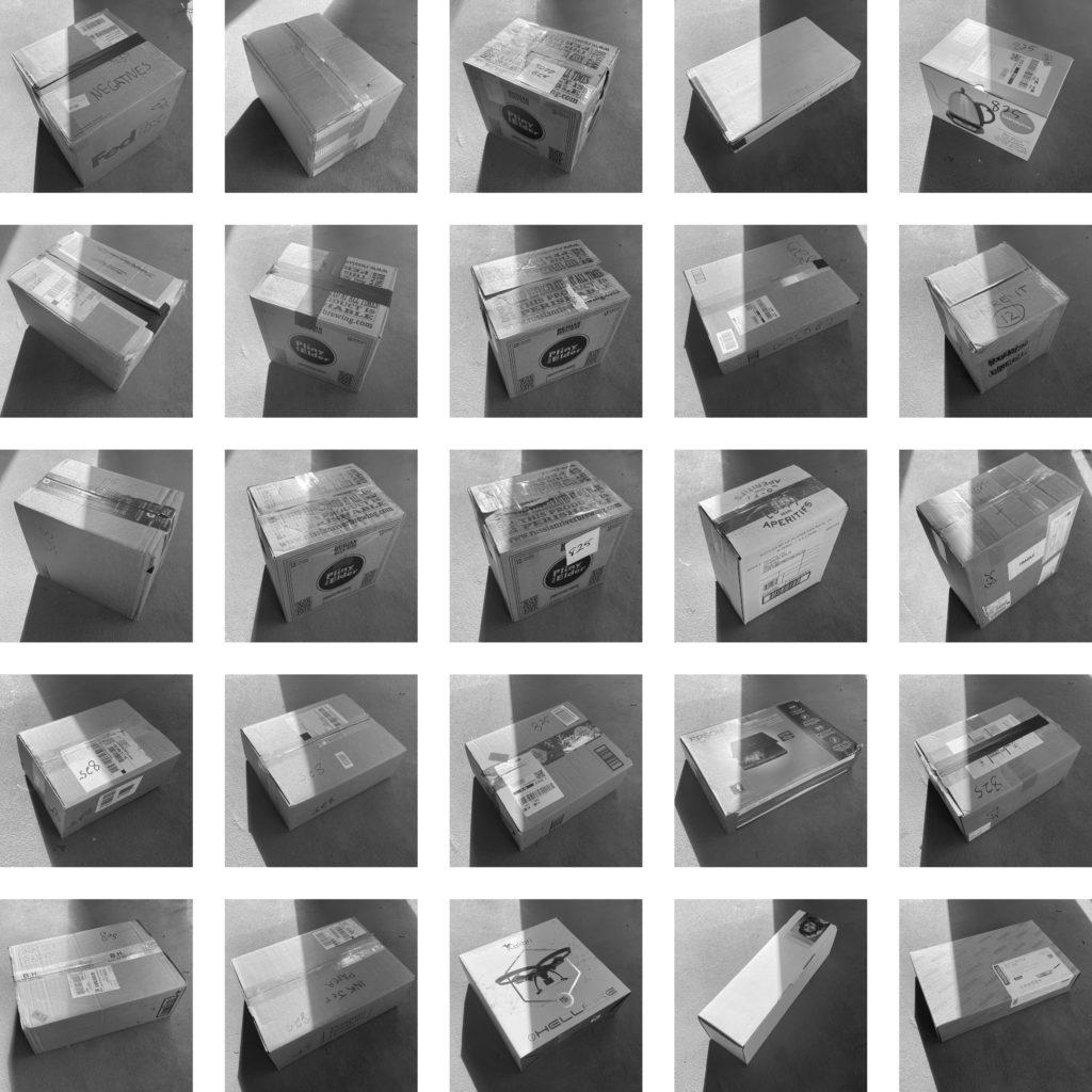 "Week 7: <em>Studio</em>,  ""Moving I: Packing my Studio, the First Twenty-Five Reused Cardboard Boxes,"" Todd Forsgren, May 20, 2020"