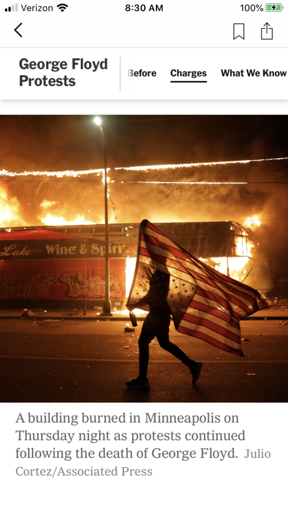 "Week 8: <em>Online</em>, ""NY Times photo by Julio Cortez,"" Barbara Takenaga, May 30, 2020"