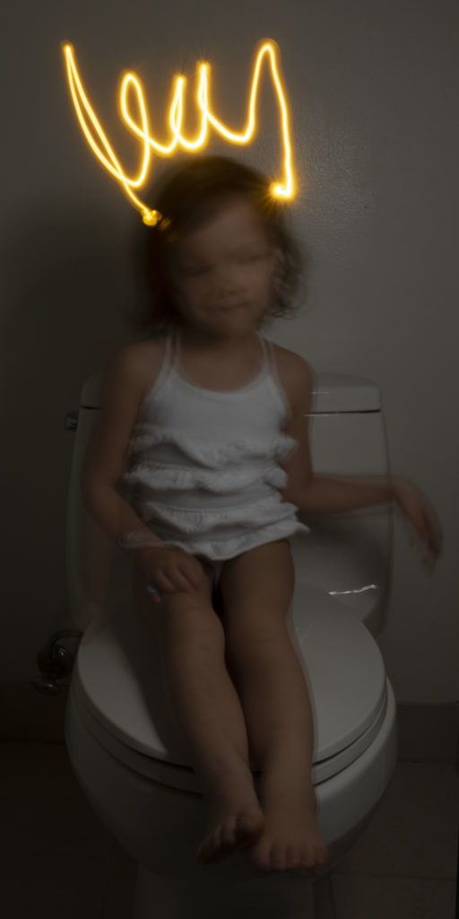 "Week 4: <em>Bathroom</em>, ""Teaching Light Painting: Thinking of Duchamp and Bacon while Making my Daughter a Princess,"" Todd Forsgren, May 3, 2020"