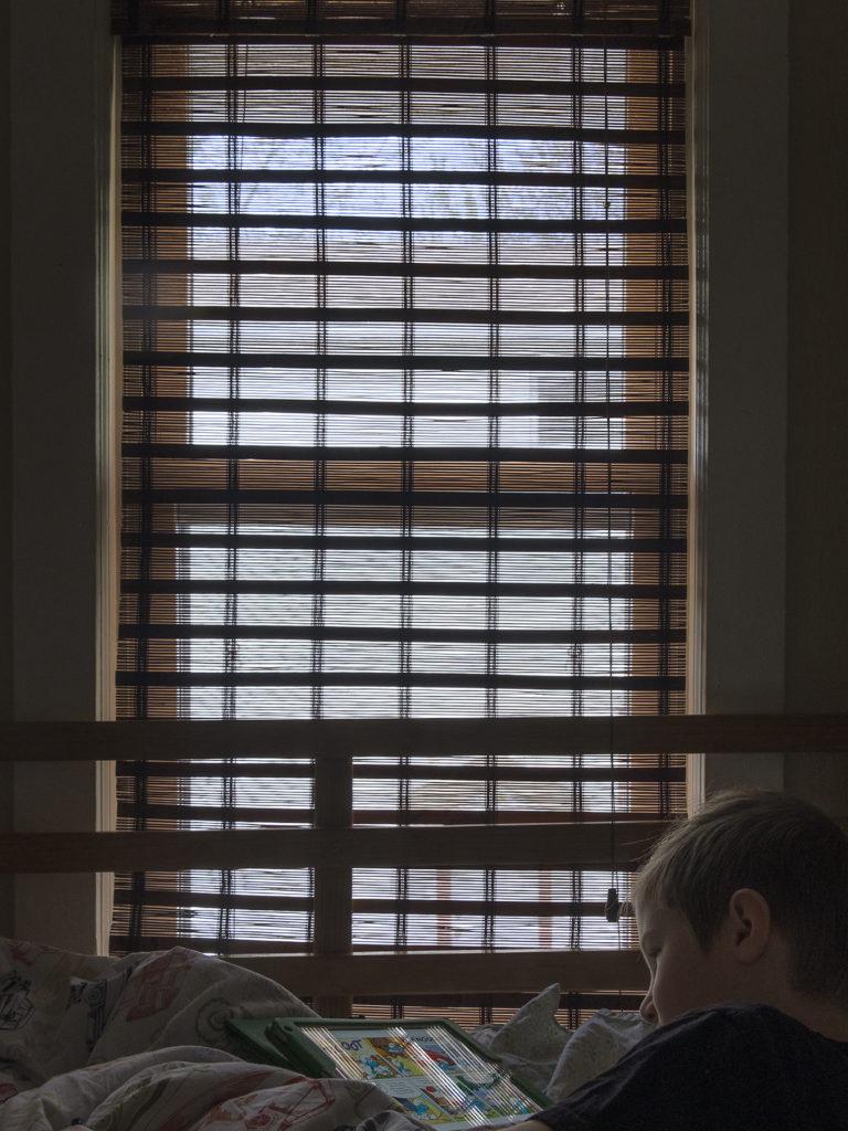 """Week 9: <em>Bedroom</em>, """"Every Window in My House, Window 15 (Homeschool from Bed)"""" Hannah Smith Allen, June 6, 2020"""