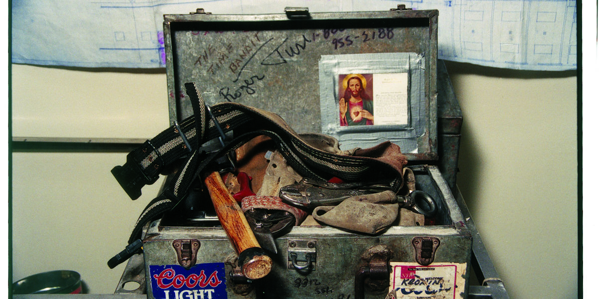 Plate 2. Larry Racioppo. Tin Knocker's Toolbox, 1995. Gold Street, Manhattan. 16 X 20 inches. 35 millimeter color negative.